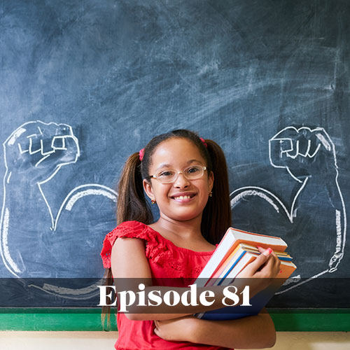 Sharing stories to engage with the community, young girl standing in front of chalkboard with muscles flexing