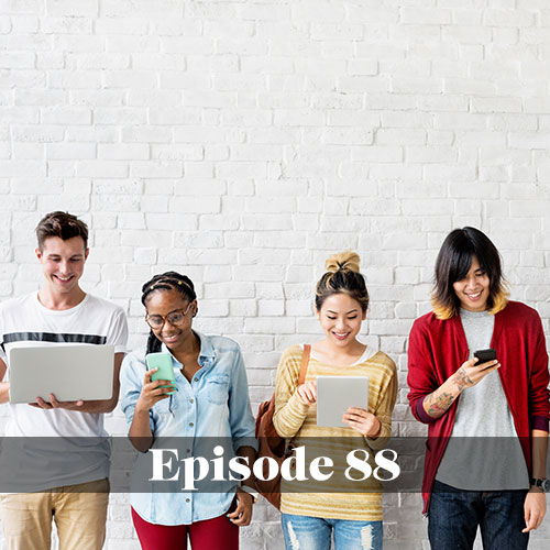 The impact of technology on education, We Love Schools podcast, group of high schoolers using different forms of technology