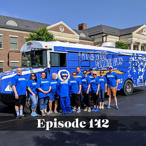 The Big Blue Bus of Washington Court House with team members in front of it